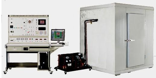 """KYZL-LK型小型冷库制冷系统综合实训考核装置,是根据教育部""""振兴21世纪职业教育课程改革和教材建设规划""""的教学要求,按照职业学校的教学和实训要求研制和开发的产品。   该KYZL-LK型小型冷库制冷系统综合实训考核装置适合大专院校、中等职业学校和本科院校的机电设备安装与维修、机电技术应用、电气运行与控制、电气技术应用、电机与电器,制冷和空调设备运用与维修等专业的《制冷空调机器设备》、《制冷空调装置的安装操作与维修》、《制冷空调自动化》、《空气调节技术与运用》《冷库工程与运作管理》、《冷库"""